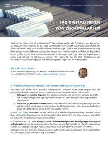 FAQ Digitalisieren von Personalakten, 1. Seite